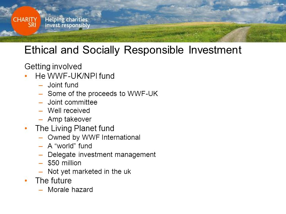 Ethical and Socially Responsible Investment Getting involved He WWF-UK/NPI fund –Joint fund –Some of the proceeds to WWF-UK –Joint committee –Well rec