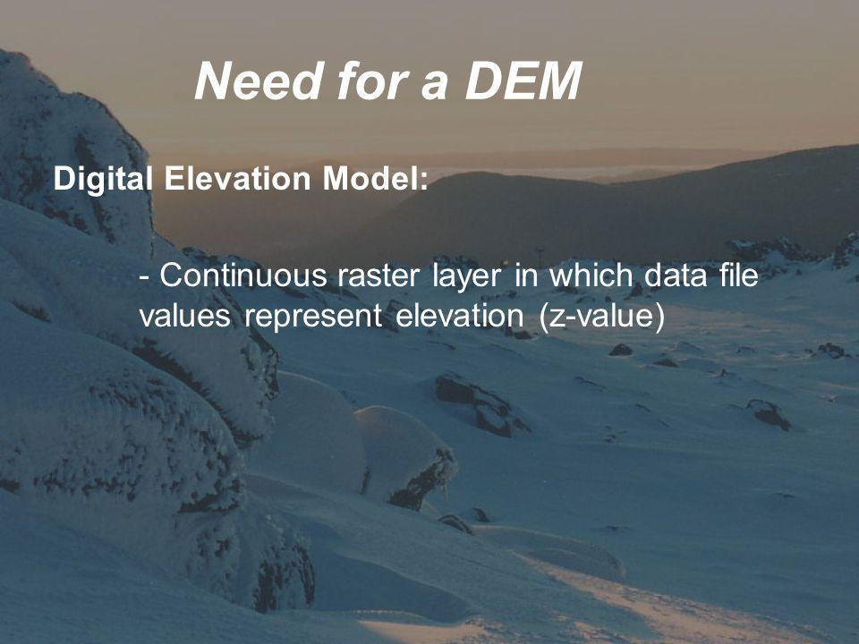 Need for a DEM Digital Elevation Model: - Continuous raster layer in which data file values represent elevation (z-value)