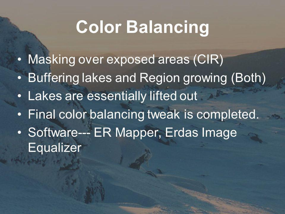Color Balancing Masking over exposed areas (CIR) Buffering lakes and Region growing (Both) Lakes are essentially lifted out Final color balancing tweak is completed.