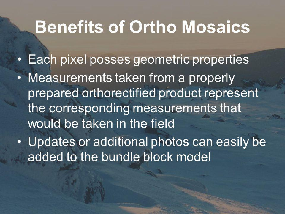 Benefits of Ortho Mosaics Each pixel posses geometric properties Measurements taken from a properly prepared orthorectified product represent the corresponding measurements that would be taken in the field Updates or additional photos can easily be added to the bundle block model