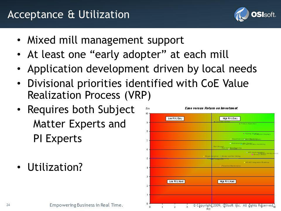 24 Empowering Business in Real Time. © Copyright 2009, OSIsoft Inc. All rights Reserved. Acceptance & Utilization Mixed mill management support At lea