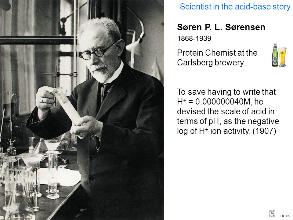 IHG 05 Søren P. L. Sørensen 1868-1939 Protein Chemist at the Carlsberg brewery. To save having to write that H + = 0.000000040M, he devised the scale