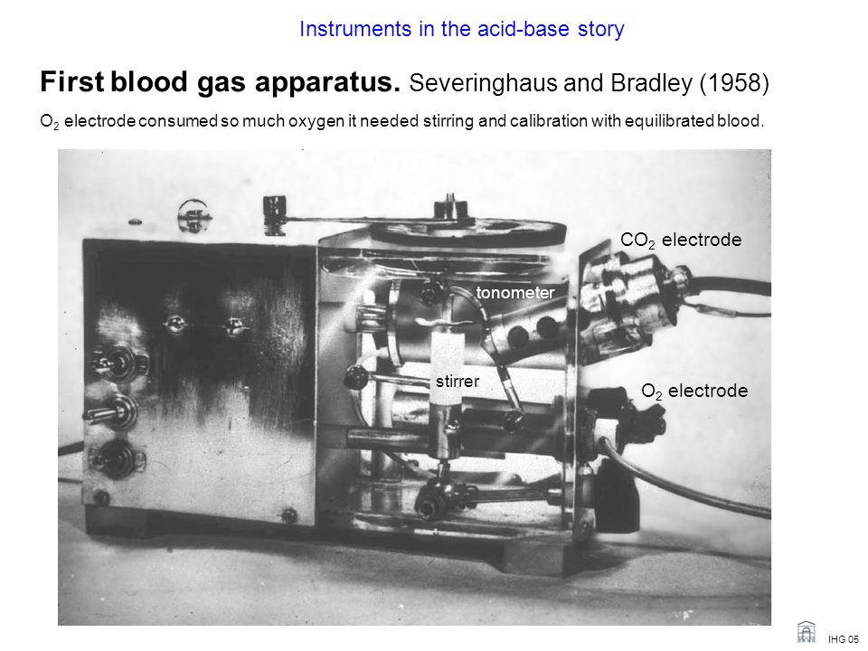 IHG 05 First blood gas apparatus.