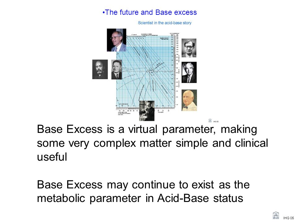 IHG 05 The future and Base excess Base Excess is a virtual parameter, making some very complex matter simple and clinical useful Base Excess may continue to exist as the metabolic parameter in Acid-Base status