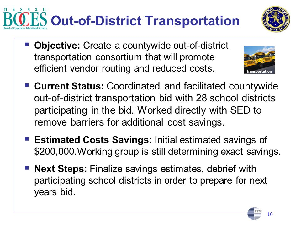 CLIENT LOGO HERE Out-of-District Transportation Objective: Create a countywide out-of-district transportation consortium that will promote efficient vendor routing and reduced costs.