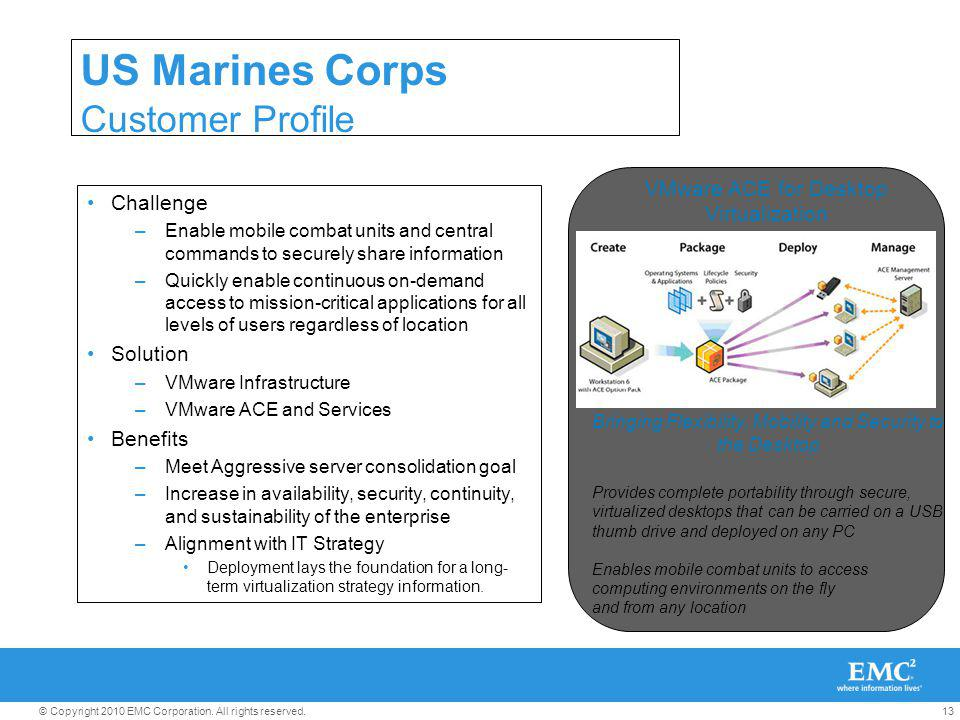 13© Copyright 2010 EMC Corporation. All rights reserved. US Marines Corps Customer Profile Challenge –Enable mobile combat units and central commands