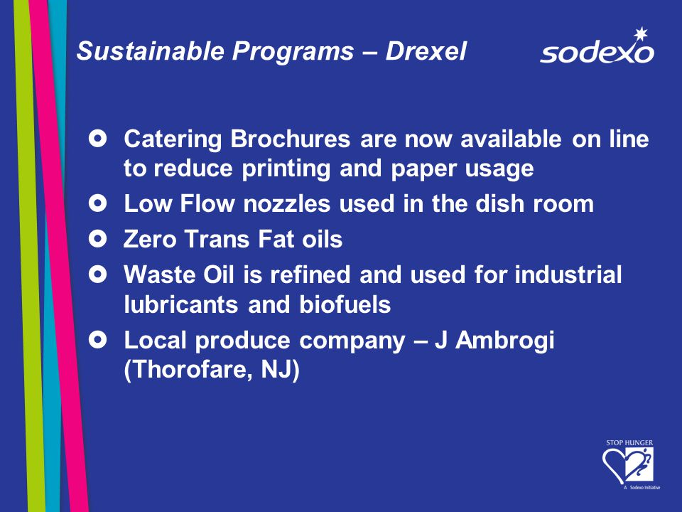 Sustainable Programs – Drexel Catering Brochures are now available on line to reduce printing and paper usage Low Flow nozzles used in the dish room Zero Trans Fat oils Waste Oil is refined and used for industrial lubricants and biofuels Local produce company – J Ambrogi (Thorofare, NJ)
