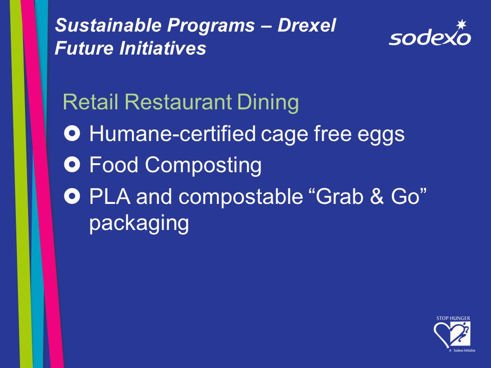 Sustainable Programs – Drexel Future Initiatives Retail Restaurant Dining Humane-certified cage free eggs Food Composting PLA and compostable Grab & Go packaging