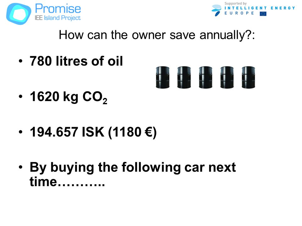 How can the owner save annually : 780 litres of oil 1620 kg CO 2 194.657 ISK (1180 ) By buying the following car next time………..