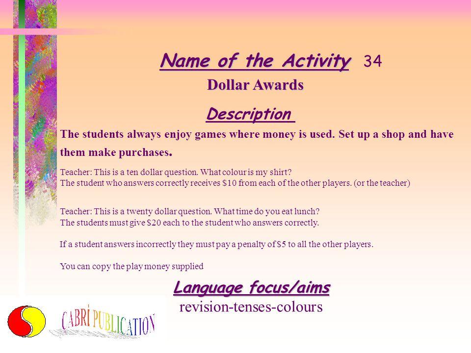 Name of the Activity Name of the Activity 33 Eat your Verbs!! Description I've done this with all of my English classes and it has always proved to be