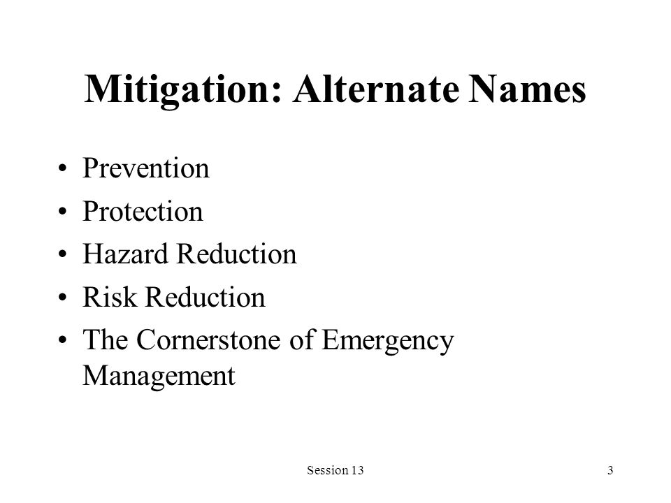 Session 133 Mitigation: Alternate Names Prevention Protection Hazard Reduction Risk Reduction The Cornerstone of Emergency Management