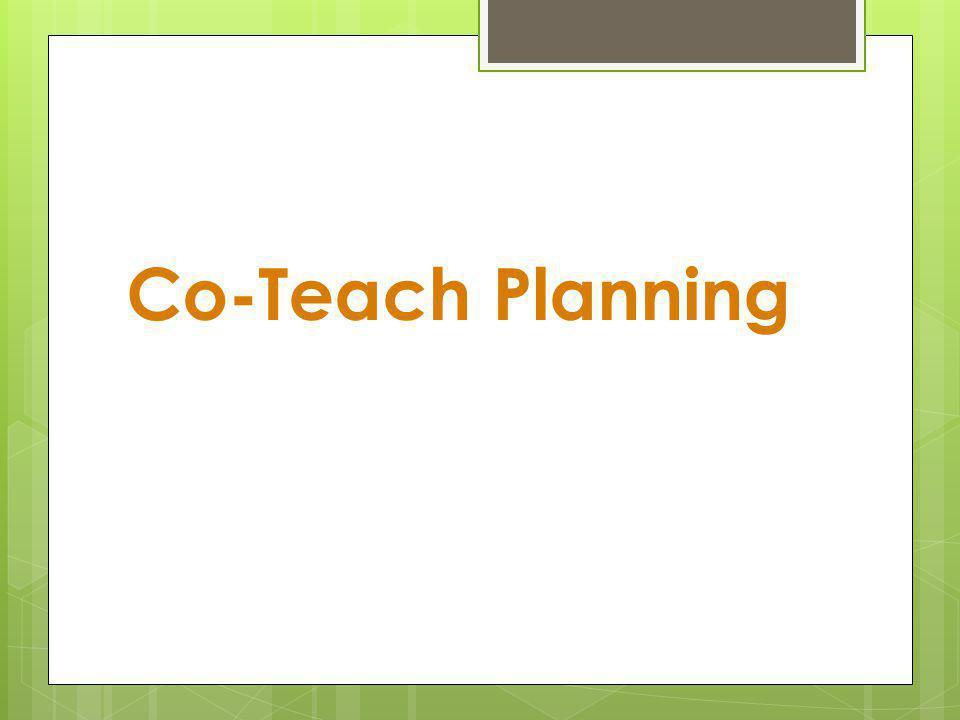 Co-Teach Planning