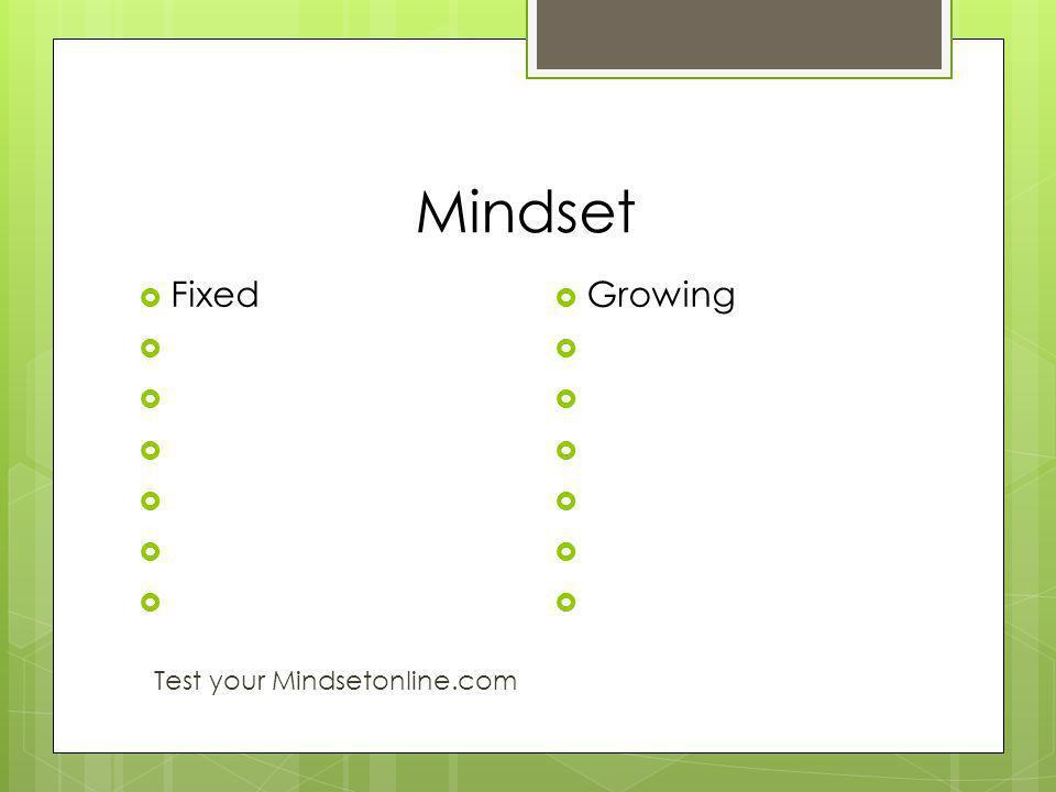 Mindset Fixed Test your Mindsetonline.com Growing