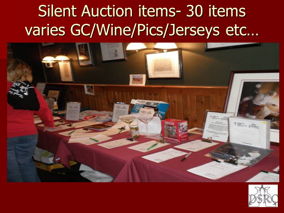 Silent Auction items- 30 items varies GC/Wine/Pics/Jerseys etc…