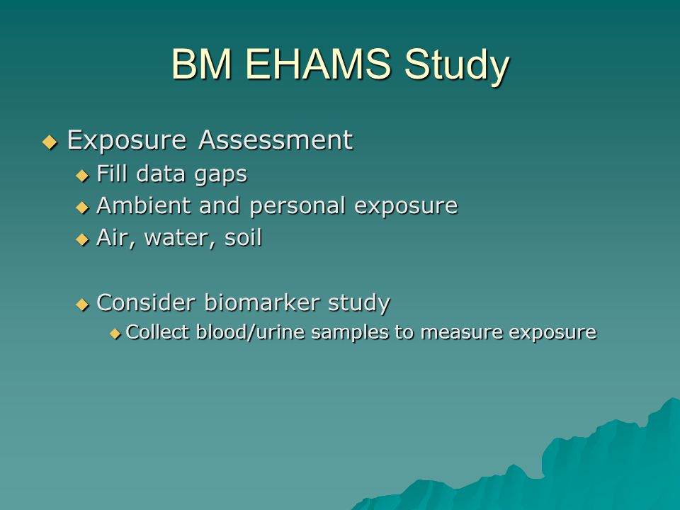 BM EHAMS Study Exposure Assessment Exposure Assessment Fill data gaps Fill data gaps Ambient and personal exposure Ambient and personal exposure Air, water, soil Air, water, soil Consider biomarker study Consider biomarker study Collect blood/urine samples to measure exposure Collect blood/urine samples to measure exposure