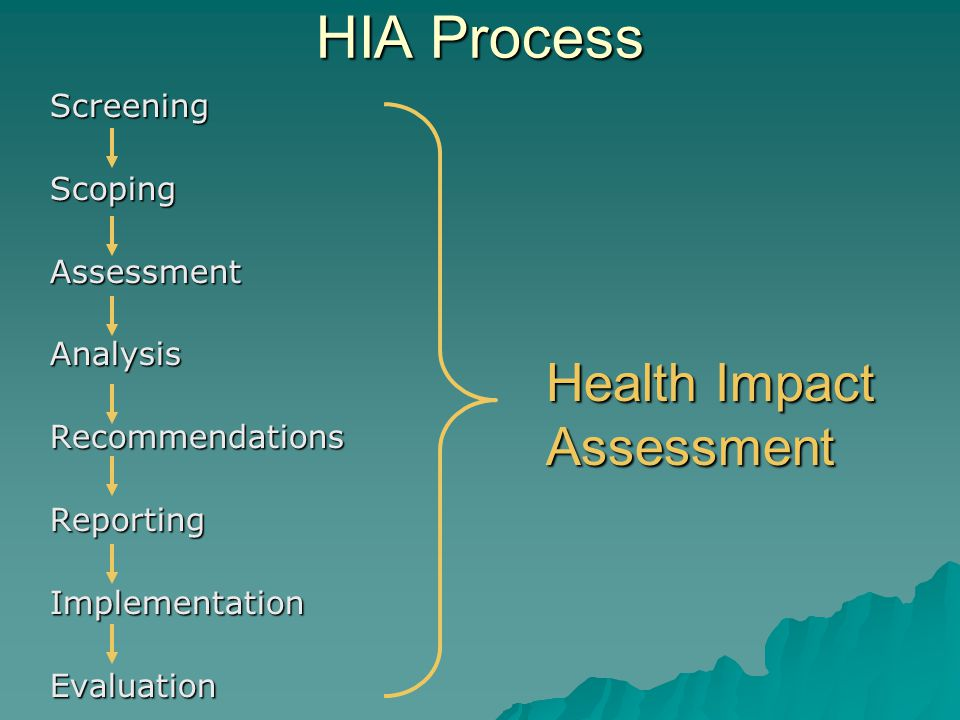 HIA Process ScreeningScopingAssessmentAnalysisRecommendationsReportingImplementationEvaluation Health Impact Assessment
