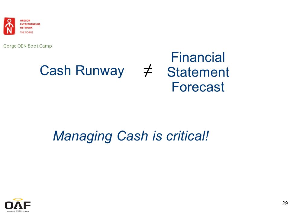 Gorge OEN Boot Camp Financial Statements Balance sheet Income statement Cash flow statement 30