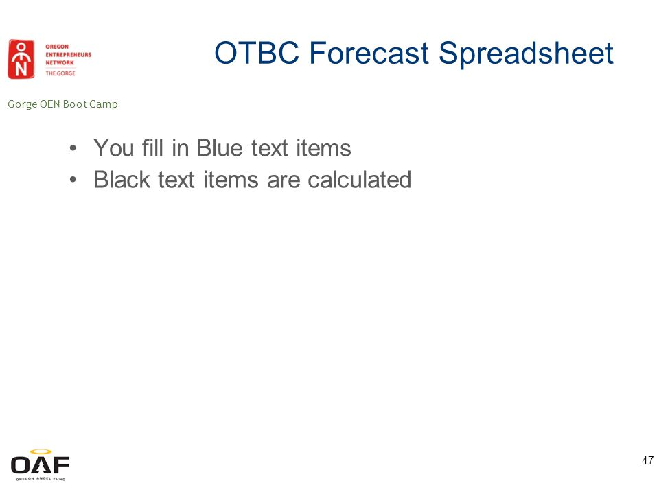 Gorge OEN Boot Camp 48 OTBC Forecast Spreadsheet