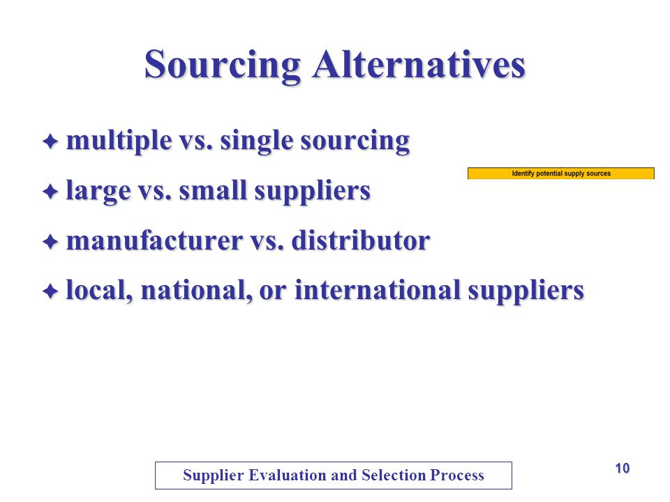 Sourcing Alternatives multiple vs. single sourcing multiple vs. single sourcing large vs. small suppliers large vs. small suppliers manufacturer vs. d