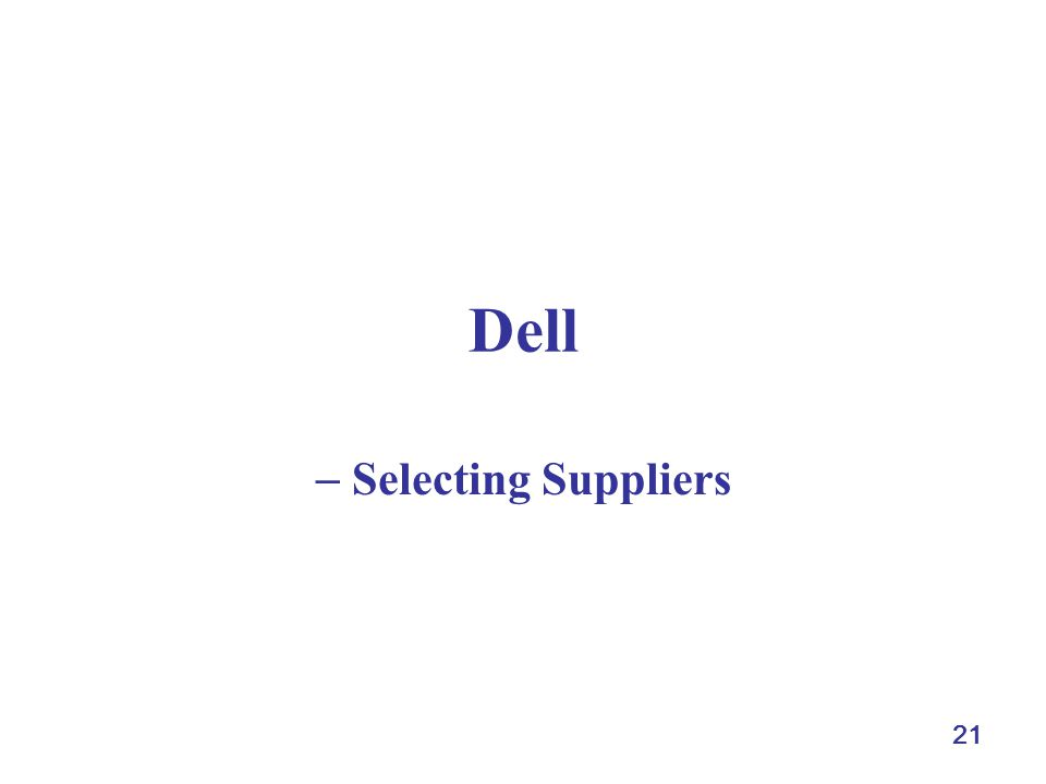21 Dell Selecting Suppliers