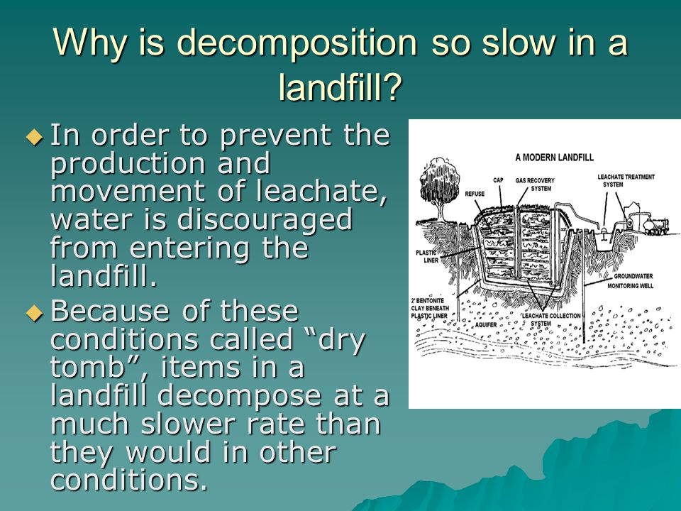 Why is decomposition so slow in a landfill? In order to prevent the production and movement of leachate, water is discouraged from entering the landfi