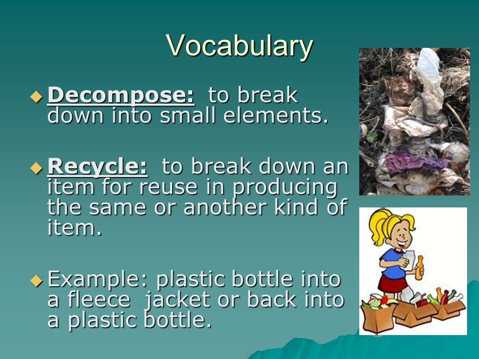 Vocabulary Decompose: to break down into small elements. Decompose: to break down into small elements. Recycle: to break down an item for reuse in pro