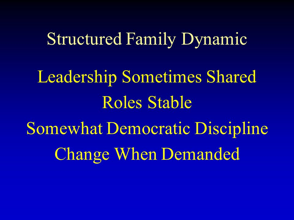 Structured Family Dynamic Leadership Sometimes Shared Roles Stable Somewhat Democratic Discipline Change When Demanded