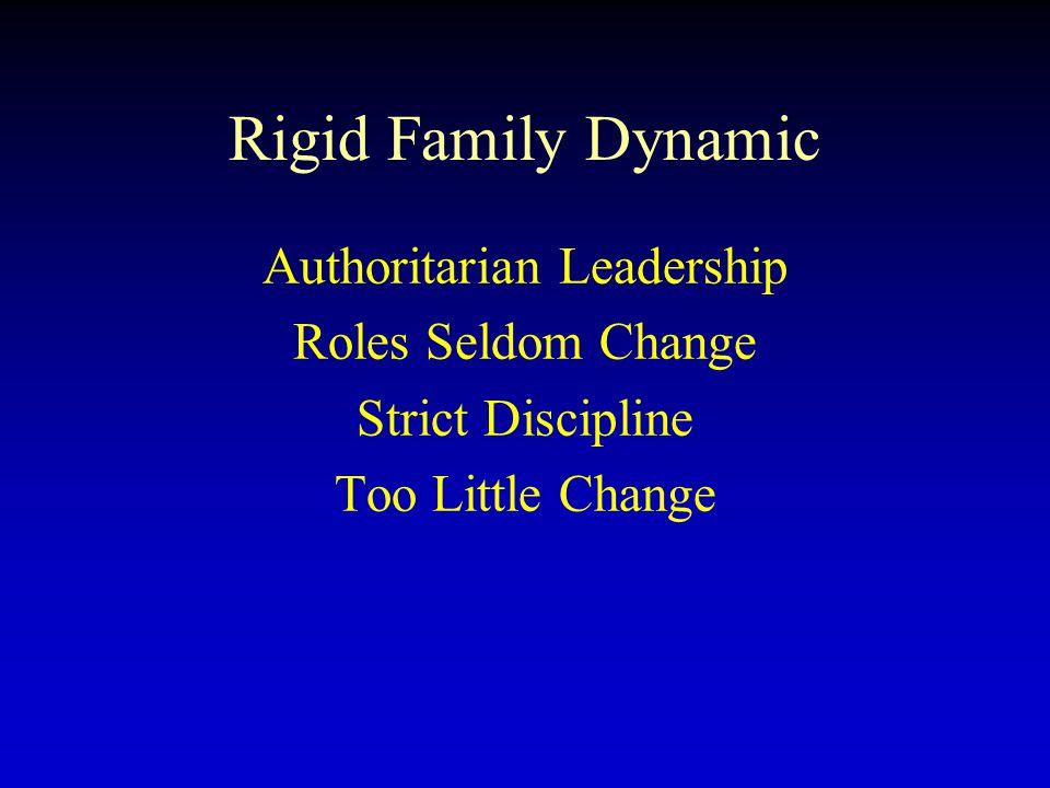Rigid Family Dynamic Authoritarian Leadership Roles Seldom Change Strict Discipline Too Little Change