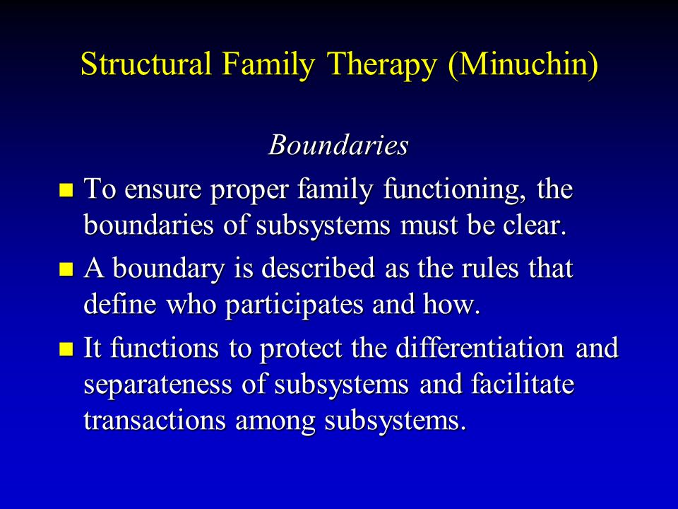 Structural Family Therapy (Minuchin) Boundaries To ensure proper family functioning, the boundaries of subsystems must be clear. To ensure proper fami