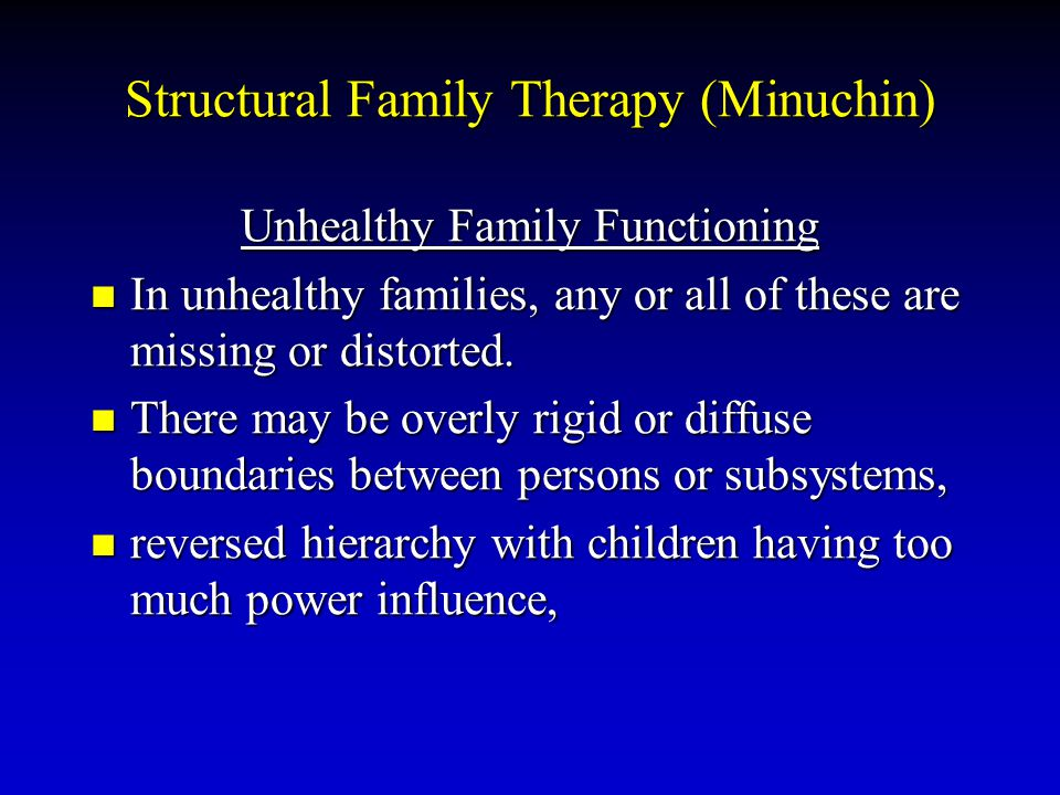 Structural Family Therapy (Minuchin) Unhealthy Family Functioning In unhealthy families, any or all of these are missing or distorted. In unhealthy fa