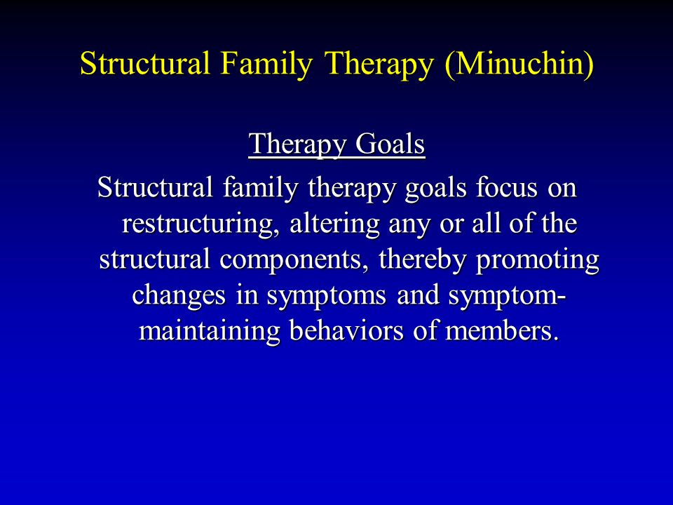 Structural Family Therapy (Minuchin) Therapy Goals Structural family therapy goals focus on restructuring, altering any or all of the structural compo