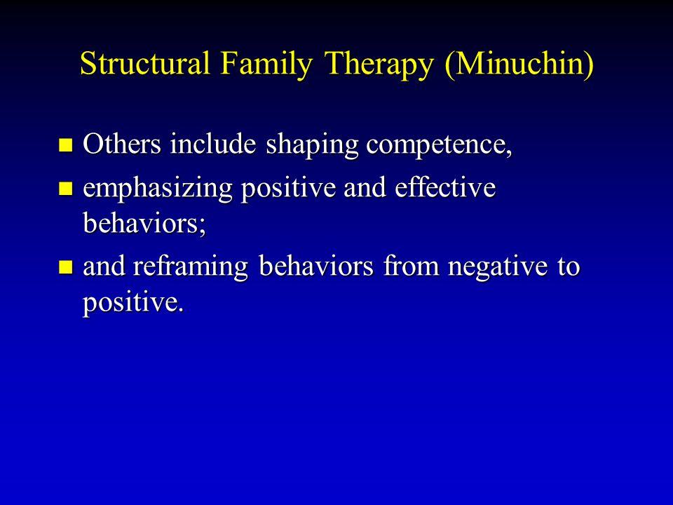 Structural Family Therapy (Minuchin) Others include shaping competence, Others include shaping competence, emphasizing positive and effective behavior