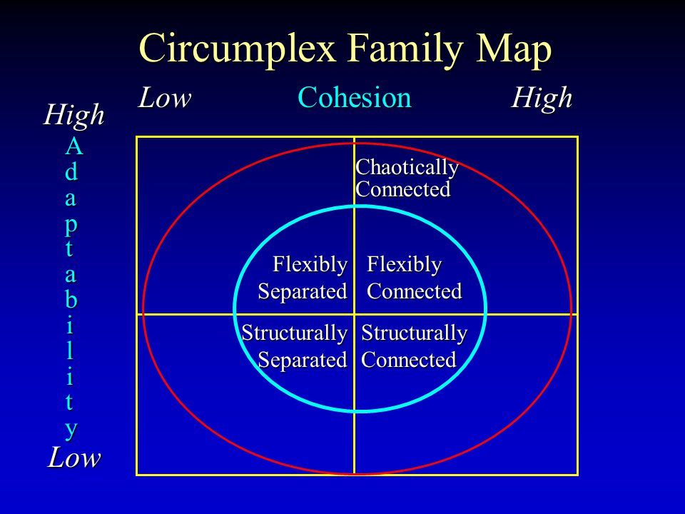 Circumplex Family Map Low Cohesion High High Low AdaptabilityAdaptabilityAdaptabilityAdaptability Flexibly Connected Structurally Connected Flexibly S