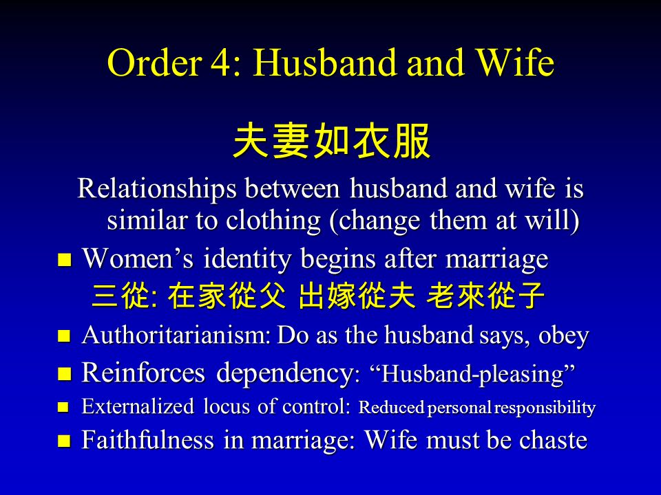 Order 4: Husband and Wife Relationships between husband and wife is similar to clothing (change them at will) Womens identity begins after marriage :