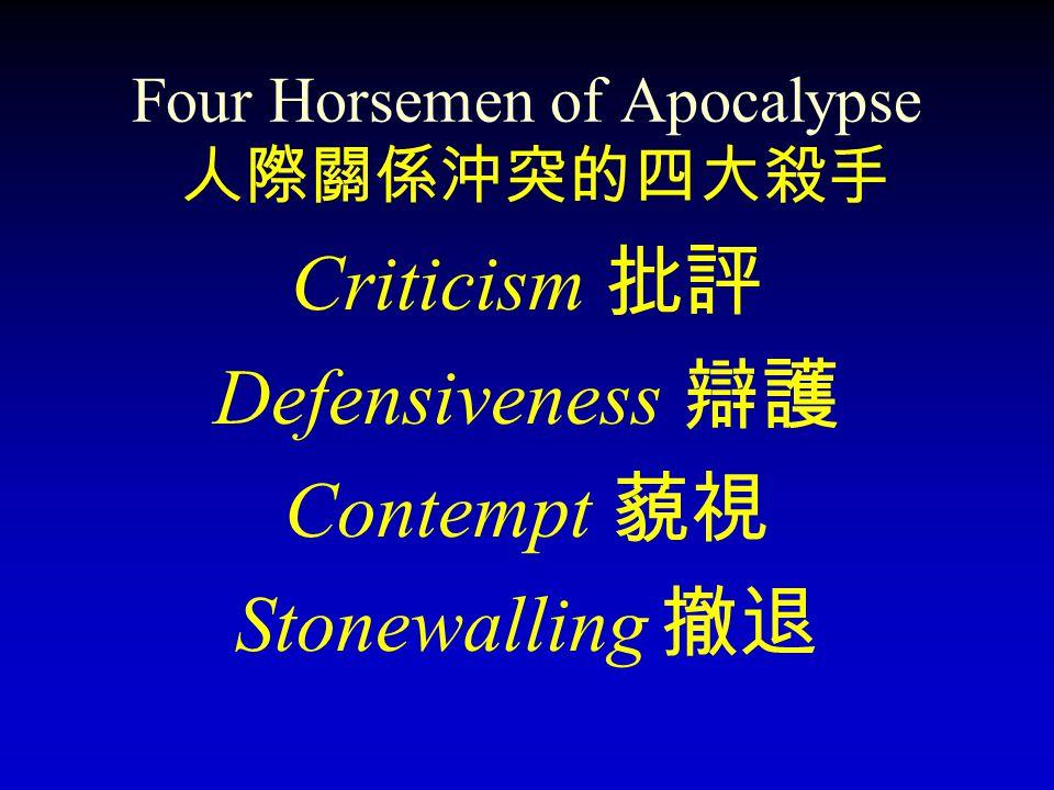 Four Horsemen of Apocalypse Criticism Defensiveness Contempt Stonewalling