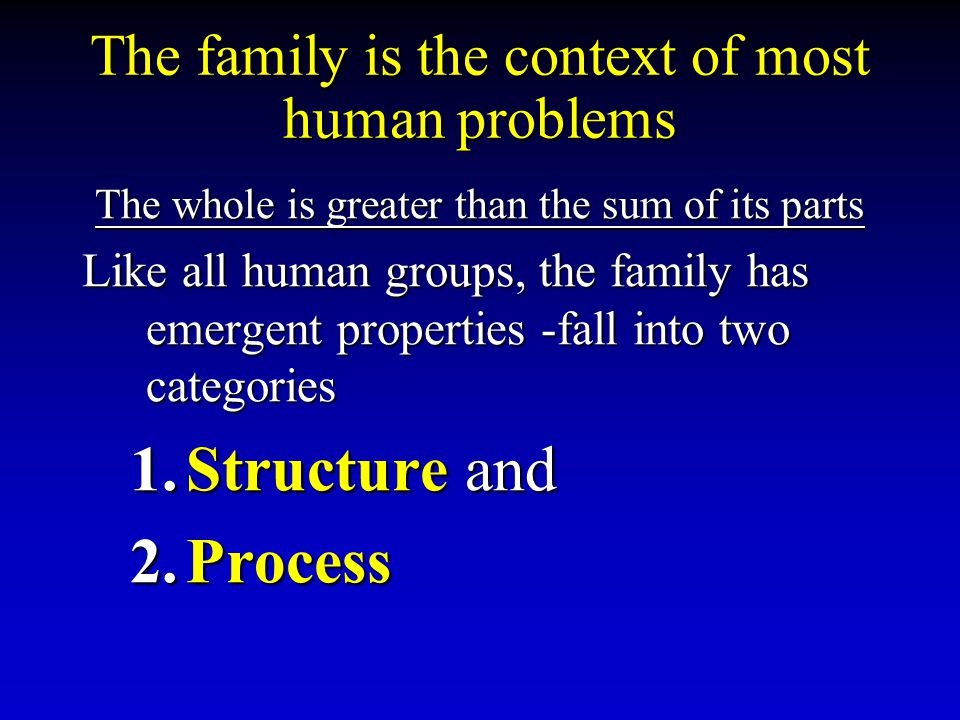 The family is the context of most human problems The whole is greater than the sum of its parts Like all human groups, the family has emergent propert