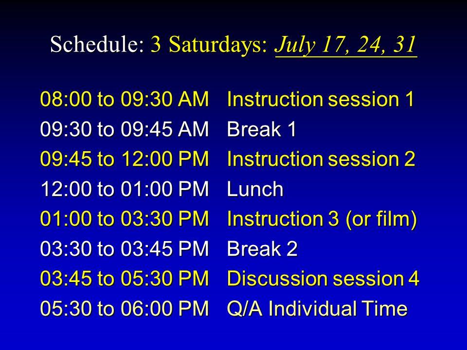 Schedule: 3 Saturdays: July 17, 24, 31 08:00 to 09:30 AMInstruction session 1 09:30 to 09:45 AMBreak 1 09:45 to 12:00 PMInstruction session 2 12:00 to