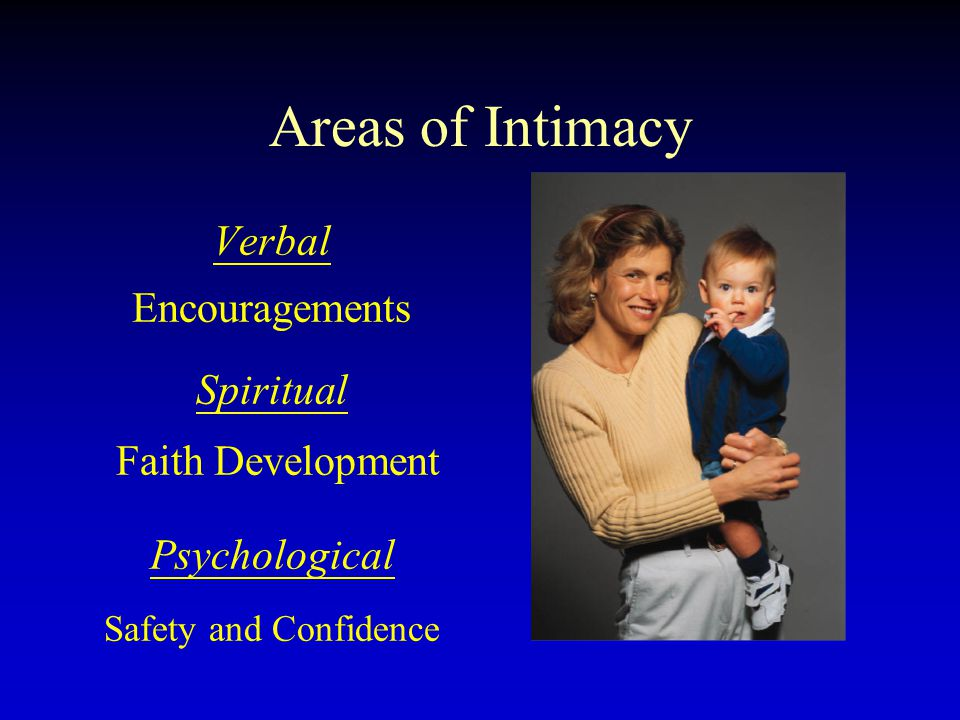 Areas of Intimacy Verbal Encouragements Spiritual Faith Development Psychological Safety and Confidence