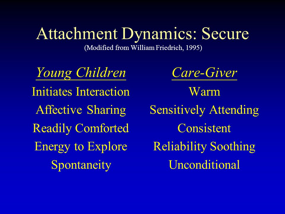 Attachment Dynamics: Secure (Modified from William Friedrich, 1995) Young Children Initiates Interaction Affective Sharing Readily Comforted Energy to