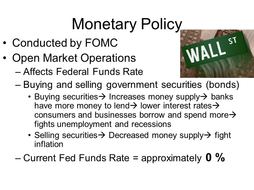 Monetary Policy Conducted by FOMC Open Market Operations –Affects Federal Funds Rate –Buying and selling government securities (bonds) Buying securiti
