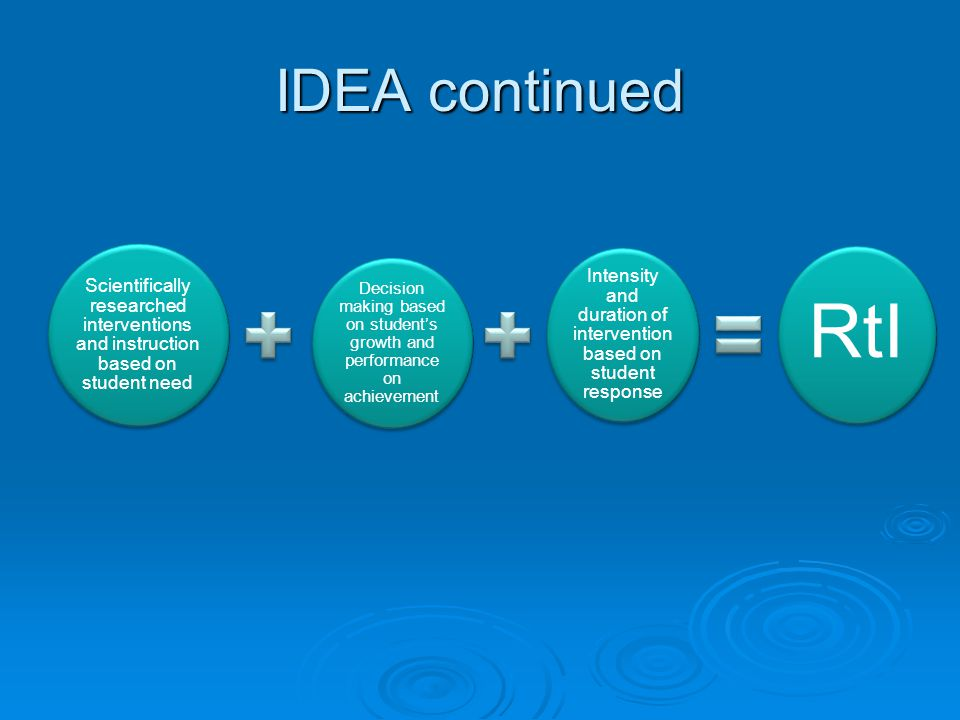 IDEA continued Scientifically researched interventions and instruction based on student need Decision making based on students growth and performance