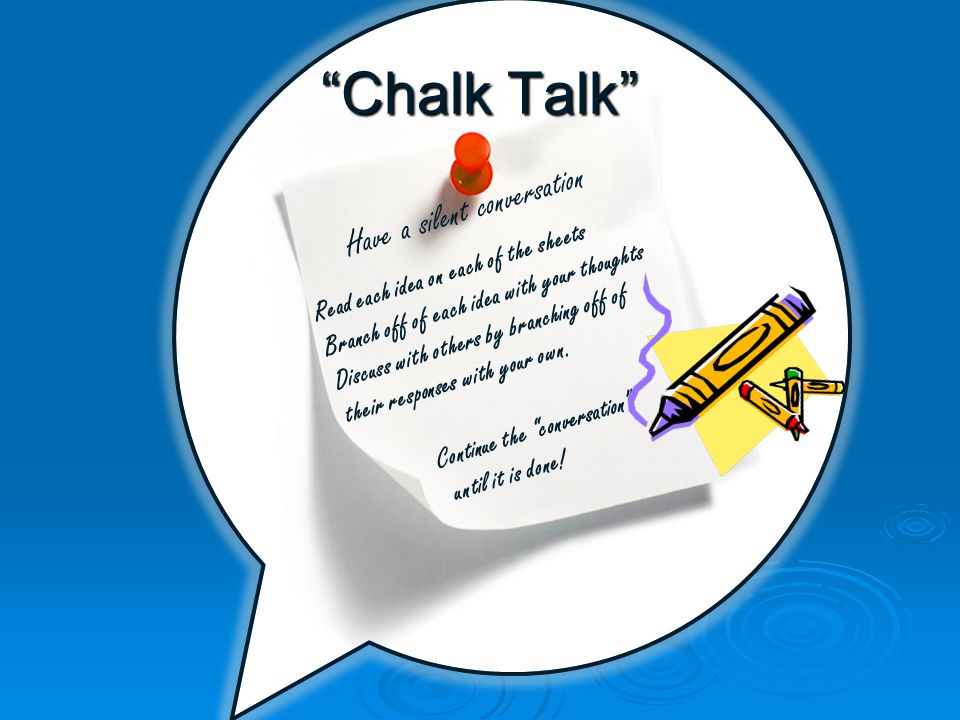 Chalk Talk Have a silent conversation Read each idea on each of the sheets Branch off of each idea with your thoughts Discuss with others by branching