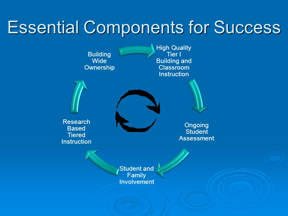 Essential Components for Success High Quality Tier I Building and Classroom Instruction Ongoing Student Assessment Student and Family Involvement Rese