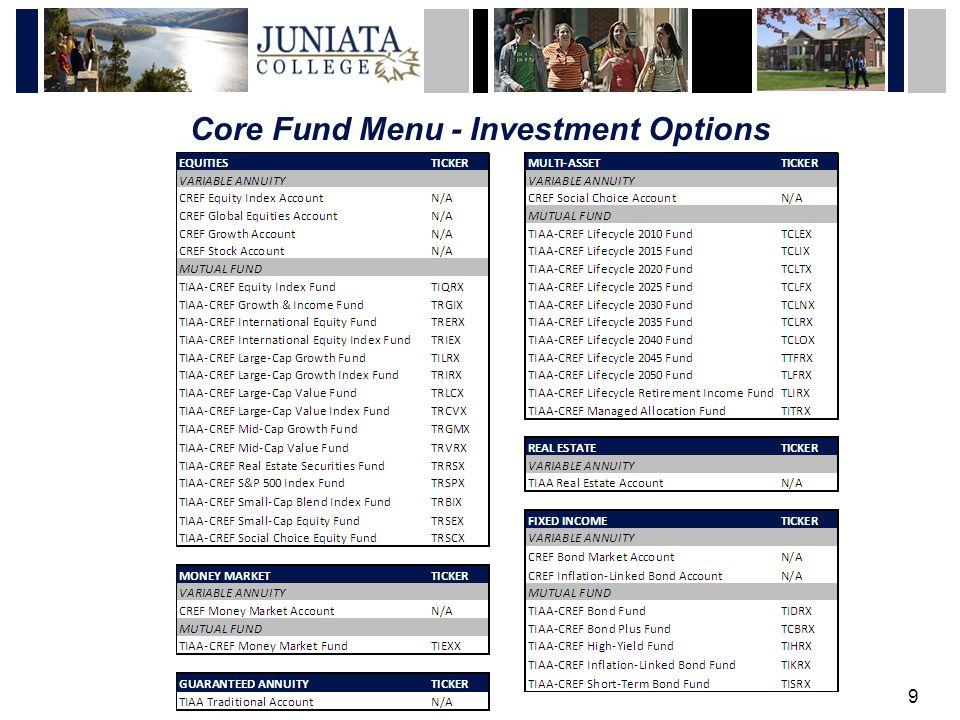 9 Core Fund Menu - Investment Options