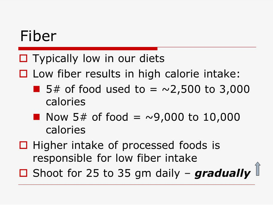 Fiber Typically low in our diets Low fiber results in high calorie intake: 5# of food used to = ~2,500 to 3,000 calories Now 5# of food = ~9,000 to 10