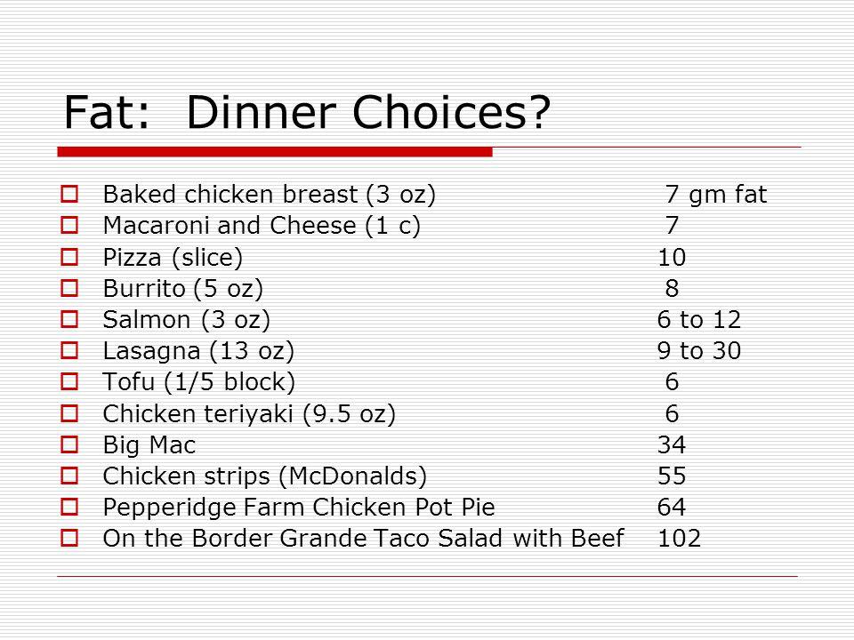 Fat: Dinner Choices.