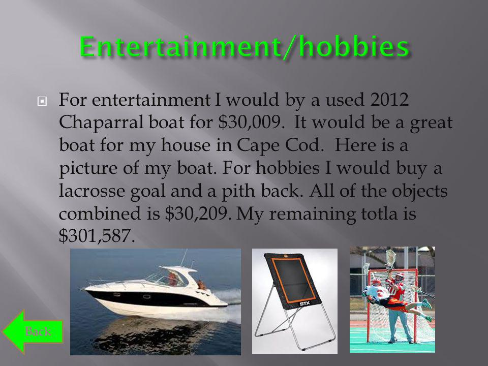 For entertainment I would by a used 2012 Chaparral boat for $30,009. It would be a great boat for my house in Cape Cod. Here is a picture of my boat.