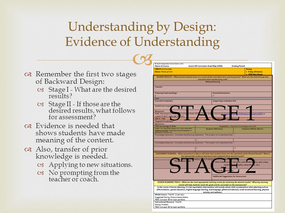 Developing Assessments Understanding by Design 16