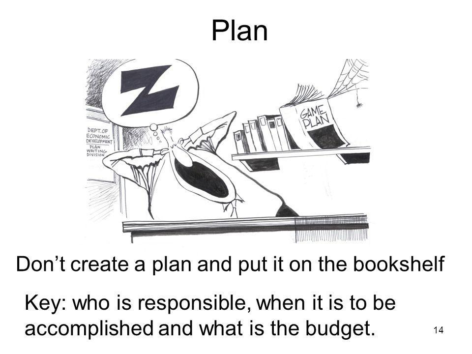 14 Plan Dont create a plan and put it on the bookshelf Key: who is responsible, when it is to be accomplished and what is the budget.