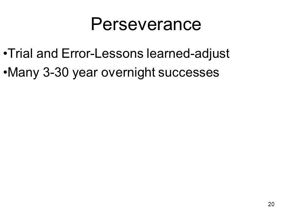 20 Perseverance Trial and Error-Lessons learned-adjust Many 3-30 year overnight successes